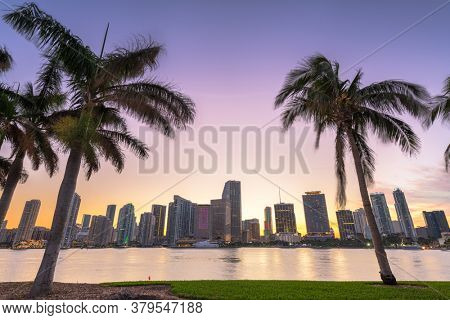 Miami, Florida, USA downtown skyline from across the Biscayne Bay at twilight.