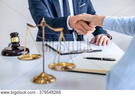 Handshake After Good Cooperation, Businesswoman Shaking Hands With Professional Male Lawyer After Di