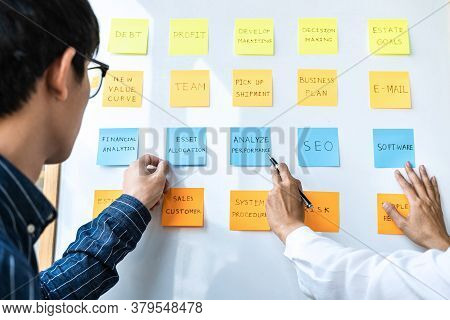 Two Creative Business People Meeting And Planning Use Post It Notes Sticky Note On Board To Share Id