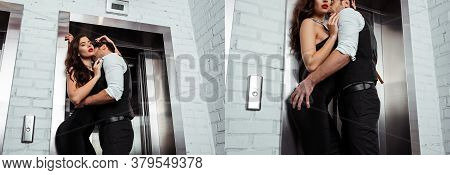 Collage Of Man Kissing And Touching Butt Of Woman Near Elevator