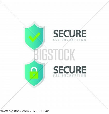 Ssl Certificate And Secure Encryption Shield Symbol Logo Design Isolated On White Background