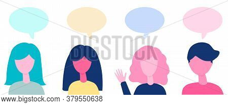 Group Of People Talking At A Meeting. Conversation Speech Bubbles. Communication And Chat Concept. V