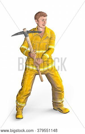 Fireman With Pickaxe - A Man Dressed As A Fireman Stands With A Pickaxe And Poses For A Photo - Isol