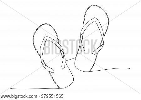 One Line Drawing Flip Flops, Vacation Concept, Editable Strokes