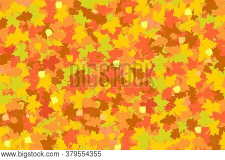 Autumn Background Of Fallen Leaves Of Maple, Oak And Birch In Yellow-red-orange Colors
