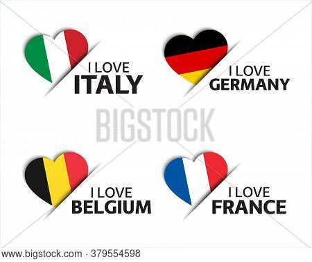 Set Of Four Italian, German, Belgian And French Heart Shaped Stickers. I Love Italy, Germany, Belgiu