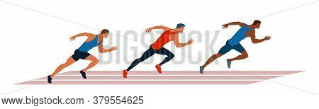 Athletes Run Through The Stadium. Race Of Athletes. Young Men Are Jogging In The Fresh Air. Vector F