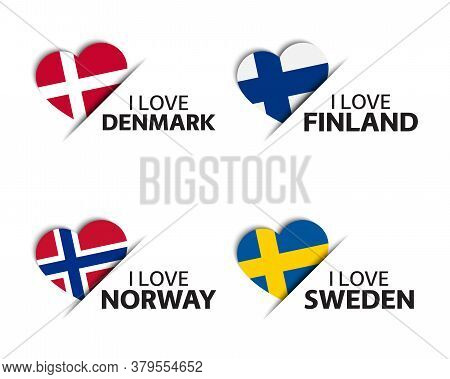 Set Of Four Danish, Finnish, Norwegian And Swedish Heart Shaped Stickers. Made In Denmark, Finland,