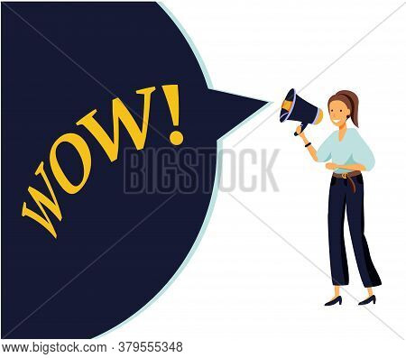 Cartoon Vector Illustration Of Advertising Promotion. Woman Character Shout In Vintage Loudspeaker,