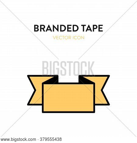 Branded Signage Icon. Vector Illustration Of Branded Yellow Tape