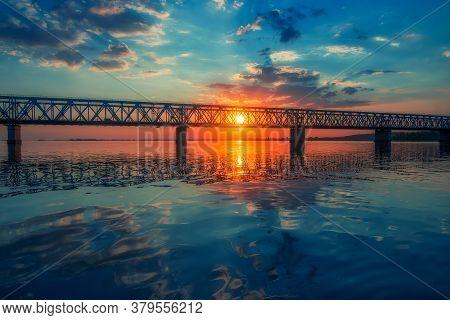 Majestic Sunrise Over Bridge Across The Dnieper River Near Cherkasy, Ukraine