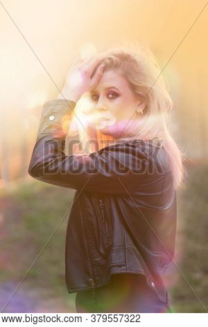 Stylish Blonde Girl Having Fun At Music Festival. Having Fun In Summer Festival Party Outdoor.