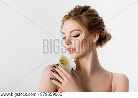 Elegant Beautiful Blonde Woman Holding Calla Flower On Shoulder Isolated On White