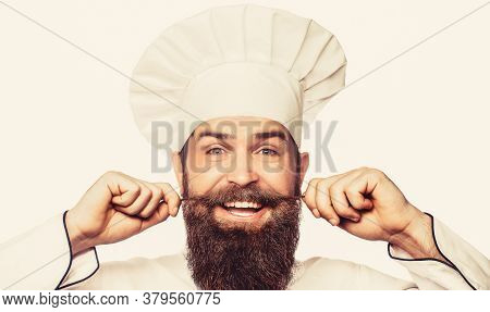 Beard Man And Moustache Wearing Bib Apron. Bearded Male Chefs Isolated On White. Funny Chef With Bea