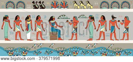 Colorful Frieze Or Panorama Banner Depicting Ancient Egyptians Around A Woman Seated On A Throne, Co