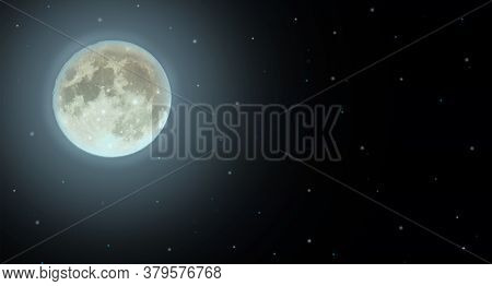 Horizontal Banner Or Wallpaper With A Bright Moon And Stars. The Full Moon Is A Horizontal Backgroun