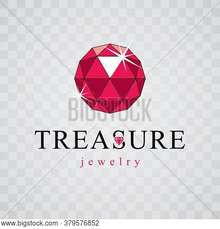 Vector Elegant Sparkling Gem. Faceted Gemstone Sign Emblem, Illustration.
