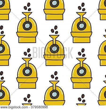 Coffee Roaster Seamless Doodle Pattern, Vector Illustration