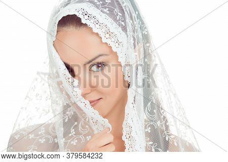 Beautiful Shy Bride Covering Face With Fashion Wedding Style - On White Background. Closeup Portrait