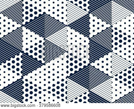 3d Dotted Cubes Seamless Pattern Vector Background, Dots And Lines Triangles Dimensional Blocks, Arc