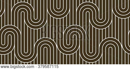 Lined Seamless Vector Pattern With Twisted Lines, Geometric Abstract Background, Stripy Net, Optical