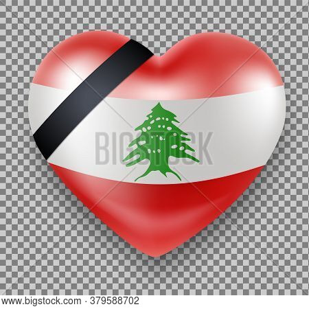 Flag Of Lebanon In A Heart Shape With A Mourning Ribbon. National Mourning. Tragedy, Explosion In Be