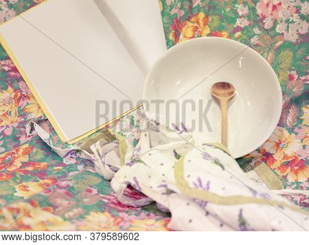 Empty Plate On Flowered Background, Hunger, Wooden Spoon, Cooking, Paper For Recipes