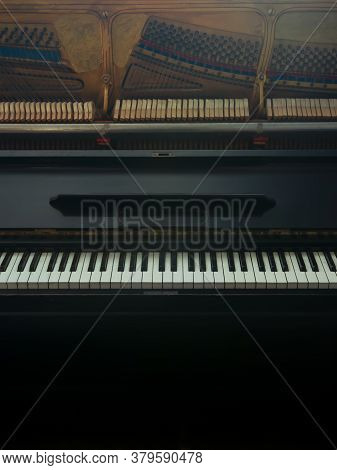 Old Black Piano Keys, Wooden Musical Instrument In Front View, Black And White Keys Indoors, Open Pi