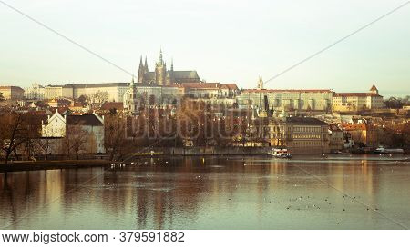 Prague, Czech Republic - December 11, 2019: The Castle And St. Vitus Cathedral, Panorama Of Old Town