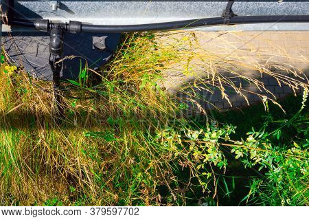 Close Up Of Watering System Outside In The Garden On A Sunny Day. Automatic Watering Equipment On A