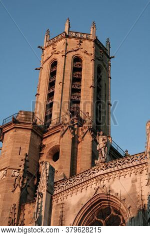 Bell Tower Of The Cathedrale Saint Sauveur Church In Aix En Provence, France. It Is A Gothic Cathedr