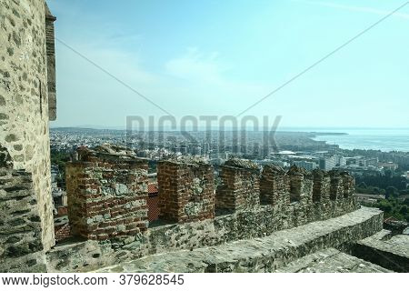 Surrounding Walls Of The Thessaloniki Fortress, Called Ano Poli, The Upper Town, Or Old City, With A