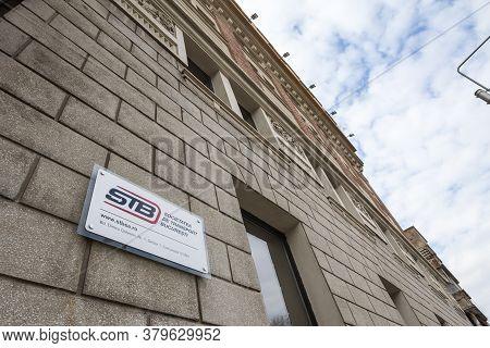 Bucharest, Romania - February 15, 2020: Logo Of Stb Bucuresti On Their Main Office. Stb, Or Societat