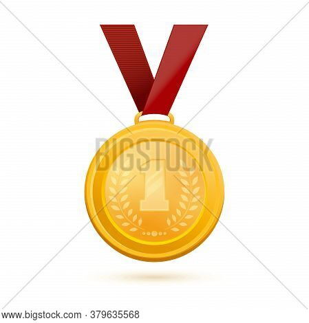Gold Medal For First Place. Golden 1st Place Badge. Gold Medal With The Image Of The Number 1 And An