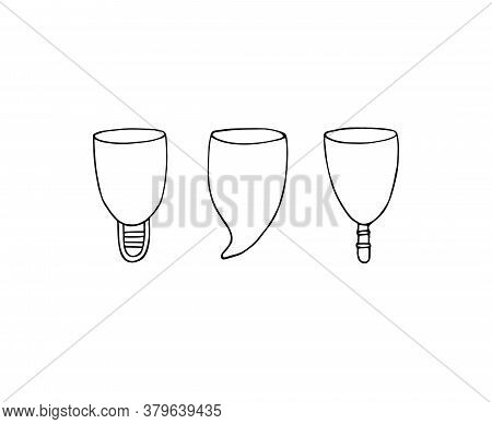 Vector Set Bundle Of Hand Drawn Doodle Sketch Menstrual Cup Isolated On White Background