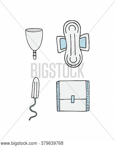 Vector Set Bundle Of Colored Hand Drawn Doodle Sketch Menstrual Pad Tampon And Cup Isolated On White