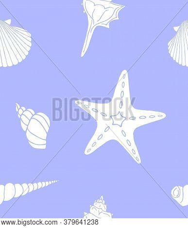 Vector Seamless Pattern Of White Hand Drawn Doodle Sketch Shell And Sea Stars Isolated On Blue Backg