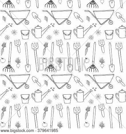 Vector Seamless Pattern Of Hand Drawn Doodle Sketch Gardening Equipment Isolated On White Background