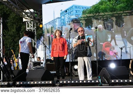 Minsk/belarus - July 30, 2020: Man Calls For The Release Of Political Prisoners At Opposition Rally
