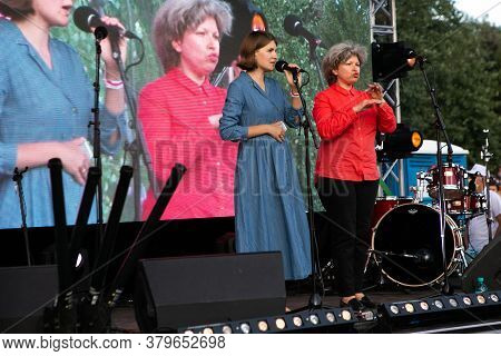 Minsk/belarus - July 30, 2020: Pavel Severinets  Wife Gives A Speech At Opposition Rally In Minsk On