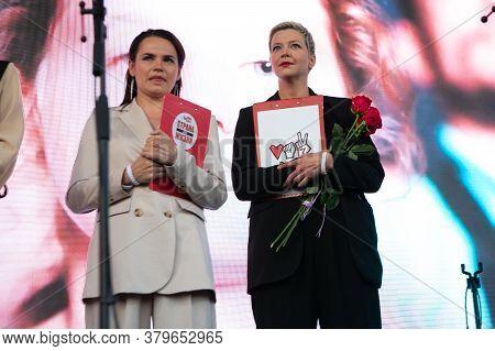 Minsk, Belarus - July 30, 2020: Svetlana Tikhanovskaya And Maria Kolesnikova - The United Belarusian