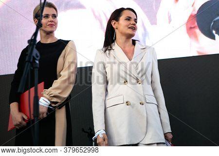 Minsk, Belarus - July 30, 2020: Svetlana Tikhanovskaya And Veronika Tsepkalo At Opposition Rally In