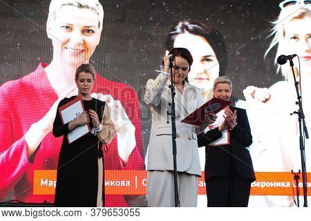 Minsk, Belarus - July 30, 2020: Svetlana Tikhanovskaya, Veronika Tsepkalo And Maria Kolesnikova - Th