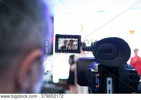 Minsk, Belarus - July 30, 2020: Videographer In Face Mask Shoots The Event On Camera At Opposition R