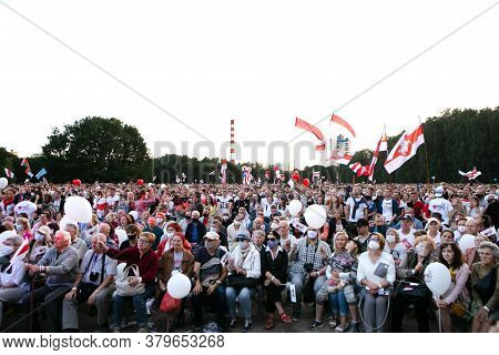Minsk/belarus - July 30, 2020: Crowd Of People In The Park At Opposition Rally In Minsk On July 30,