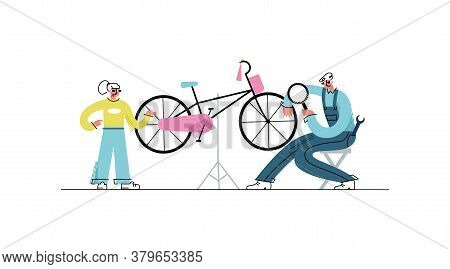 Vector Flat Illustration Professional Repair Of Child S Bicycle In Salon. Concept Fix Street Vehicle