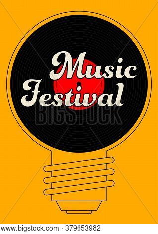 Music Poster Design Template Background With Vinyl Record And Light Bulb. Design Element Template Ca