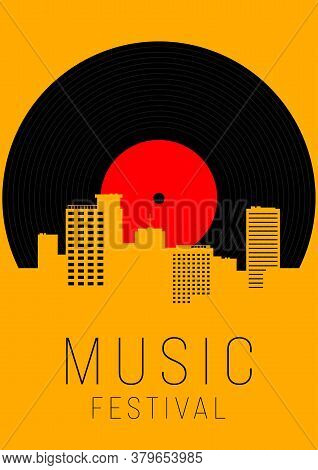 Music Poster Design Template Background With Vinyl Record And Urban Cityscape. Design Element Templa