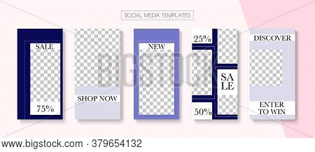 Modern Stories Vector Background. Online Shop Luxury Invitation Advert. Modern Sale, New Arrivals St