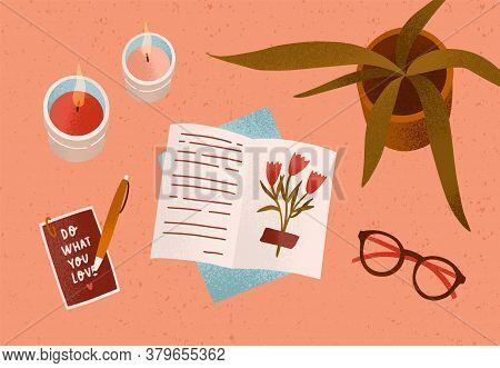 Notepad Or Diary With Dry Beautiful Flower And Writing Text Surrounded By Cosiness Things On Desk Ve